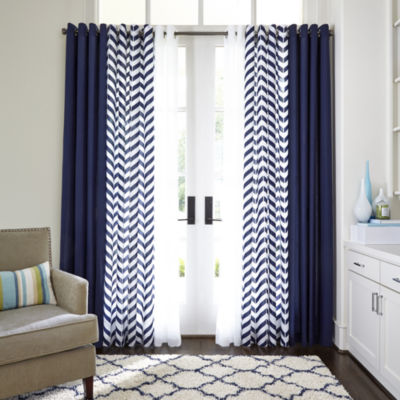 Amazing JCPenney Home™ Cotton Classics Broken Chevron Grommet Top Curtain Panel