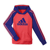 adidas® Striped Knit Pullover Hoodie - Girls 7-16