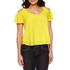 Bisou Bisou® Short-Sleeve Cold-Shoulder Layered Flare Top