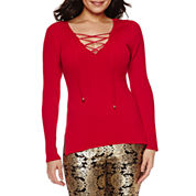 Bisou Bisou Lace Up Rib Sweater