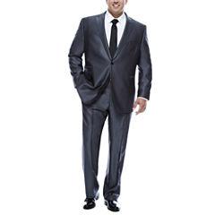 J.Ferrar Gray Luster Herringbone-Big and Tall Suit Separate