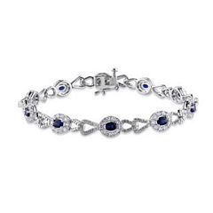 1/10 CT. T.W. Sterling Silver White & Color-Enchanced Blue Diamond Crossover Bracelet