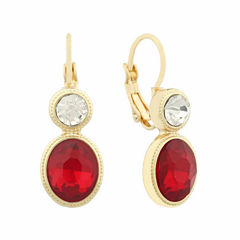 Monet® Red and White Crystal Gold-Tone Drop Earrings