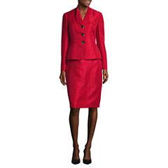 Le Suit ® Long Sleeve 3 Button Skirt Suit