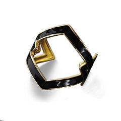 KJL by KENNETH JAY LANE Black Enamel and Gold-Tone Link Cuff Bracelet