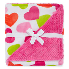 Okie Dokie® Plush Heart-Print Blanket - One Size