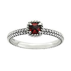 Personally Stackable Checker-Cut Genuine Garnet Ring
