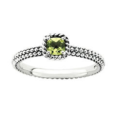 Personally Stackable Checker-Cut Genuine Peridot Ring