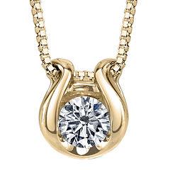 Sirena® 1/12 CT. Diamond Solitaire 14K Yellow Gold Pendant Necklace