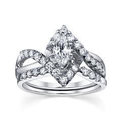 Diamonore™  1-1/5 CT. T.W. Simulated Diamond Marquise-Cut Bridal Ring Set