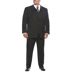 Stafford Travel Black Stretch Suit Separates-Portly Fit