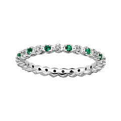 Personally Stackable Lab-Created Emerald & Diamond-Accent Eternity Ring
