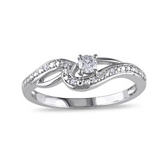 1/7 CT. T.W. Diamond 10K White Gold Swirl Promise Ring