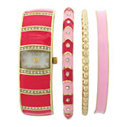 Womens Crystal-Accent Rectangular Dial Pink Bangle Watch and Bracelet Set