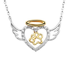 ASPCA® Tender Voices™ 1/10 CT. T.W.  Diamond Animal Angel Pendant Necklace