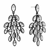 Monet Clear And Black Chandelier Earring