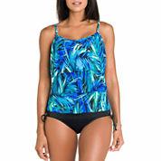 Jamaica Bay® Palm Triple-Tier Ruffle Tankini Swim Top