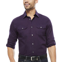 Claiborne® Slim-Fit Roll-Sleeve Shirt