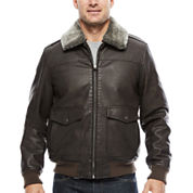 Dockers Faux Leather Bomber With Sherpa Collar