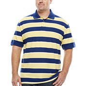 The Foundry Big & Tall Supply Co. Short Sleeve Striped Easy Care Pique Polo