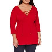 Bisou Bisou Long Sleeve V Neck Knit Pullover Sweater-Plus
