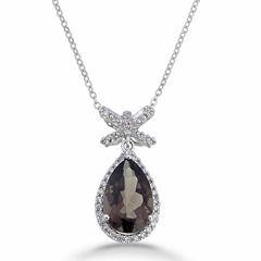 Womens Brown Quartz Sterling Silver Pendant Necklace