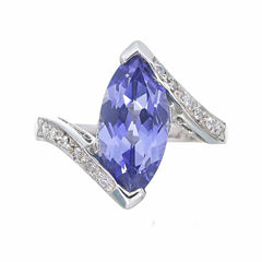 Womens Blue Sapphire Sterling Silver Bypass Ring