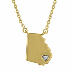 Diamond Accent 14K Yellow Gold over Silver Georgia Pendant Necklace