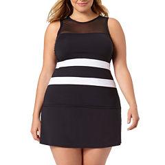 Liz Claiborne Solid Tankini Swimsuit Top-Plus