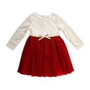 Young Land Long Sleeve Party Dress - Toddler