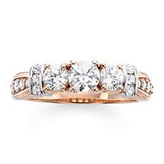1 CT. T.W. Diamond 14K Rose Gold 3-Stone Ring