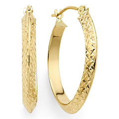 Diamond-Cut 14K Yellow Gold 22.95mm Knife-Edge Hoop Earrings