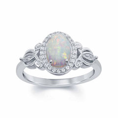 Enchanted By Disney Womens 1/10 CT. T.W. Lab Created Opal Sterling Silver Cocktail Ring