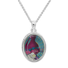 Disney Girls Clear Cubic Zirconia Silver Over Brass Pendant Necklace