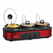 Cooks 3x1.5QT Triple Slow Cooker with Lid Rests