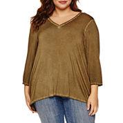 Boutique + 3/4 Sleeve V Neck T-Shirt-Plus