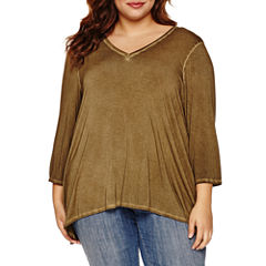 Boutique + 3/4 Sleeve V Neck T-Shirt-Womens Plus
