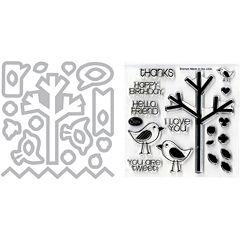 Sizzix® Framelits Die and Stamp Kit – Birds & Tree