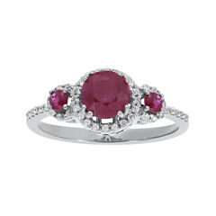Lead Glass-Filled Ruby and 1/5 CT. T.W. Diamond 10K White Gold 3-Stone Ring