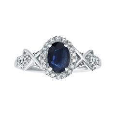 1/4 CT. T.W. Diamond and Genuine Sapphire 10K White Gold Ring