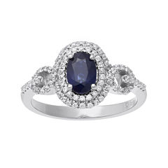 Genuine Sapphire and 1/3 CT. T.W. Diamond 10K White Gold Ring