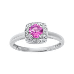 Lab-Created Pink Sapphire and Genuine White Topaz Sterling Silver Ring