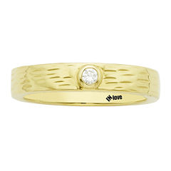 IN Love 1/10 CT. T.W. Diamond 14K Yellow Gold Textured Wedding Band