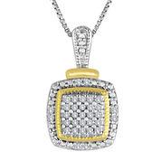 1/10 CT. T.W. Diamond Two-Tone Frame Pendant Necklace
