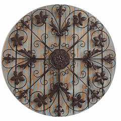 Filigree Circle On Wood Panels Wall Decor