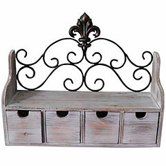 Fleur De Lis Four Drawer Shelf Wall Decor