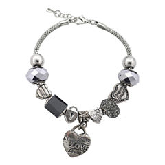 Dazzling Designs™ Silver-Plated Black Artisan Glass Bead Heart Charm Bracelet
