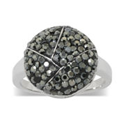 Silver-Plated Gray Crystal Dome Ring