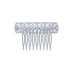 Diamonart® Sterling Silver Cubic Zirconia Princess Hair Comb