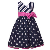 Bonnie Jean Navy Floral Stripe Dress - Toddler